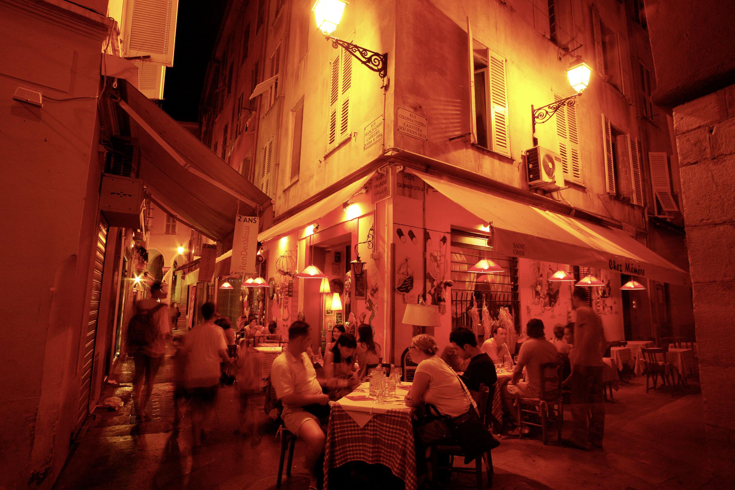 France, Cote d´Azur, Nice, Restaurant Scene in Old Town  ©  Reiner Riedler