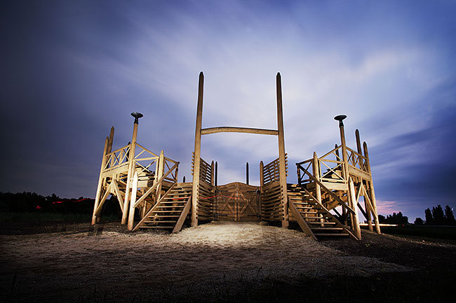 AUSTRIA / Burgenland/  Carnuntum; Gladiator School;  Reconstructed Gladiators' practice arena in Carnuntum's gladiator school at night  © Reiner Riedler/ Anzenberger