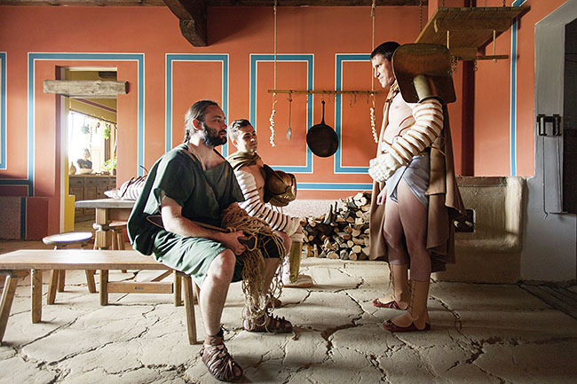 AUSTRIA / Burgenland/  Carnuntum; Gladiator School;  Gladiators waiting for performance, here: Reconstructed oven and hearth in the thermopolium of the public baths in the Archaeological Park Carnuntum  © Reiner Riedler/ Anzenberger