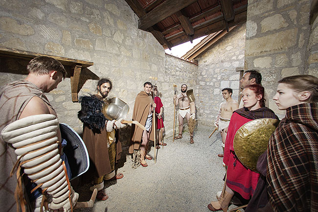 AUSTRIA / Burgenland/  Carnuntum; Gladiator School;  Gladiators before performing inside the reconstructed gladiator school in Carnuntum  © Reiner Riedler/ Anzenberger