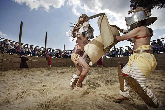 AUSTRIA / Burgenland/  Carnuntum; Gladiator School;  Gladiators performing in the reconstructed Gladiators' practice arena in Carnuntum's gladiator school  © Reiner Riedler/ Anzenberger