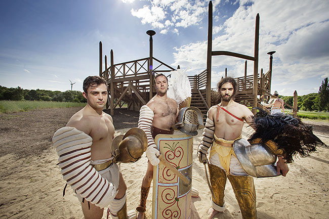 AUSTRIA / Burgenland/  Carnuntum; Gladiator School;  Gladiators after the performance at the reconstructed Gladiators' practice arena in Carnuntum's gladiator school  © Reiner Riedler/ Anzenberger