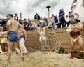 AUSTRIA / Burgenland/  Carnuntum; Gladiator School;  Gladiators performing in the reconstructed Gladiators' practice arena in Carnuntum's gladiator school  © Reiner Riedler/ Anzenberger