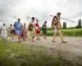 AUSTRIA / Burgenland/  Carnuntum; Gladiator School;  Gladiators on the way to the reconstructed Gladiators' practice arena in Carnuntum's gladiator school  © Reiner Riedler/ Anzenberger