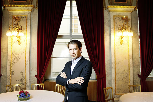 AUSTRIA / VIENNA/ Austrian minster for Foreign Affairs Sebastian Kurz in his office at Minoritenplatz 8